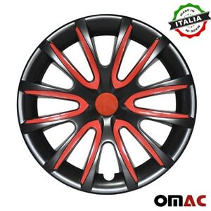 15 Inch Hubcaps Wheel Rim Cover Glossy Black With Red Insert 4pcs Set