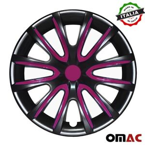 16 Inch Hubcaps Wheel Rim Cover Glossy Black With Violet Insert 4pcs Set