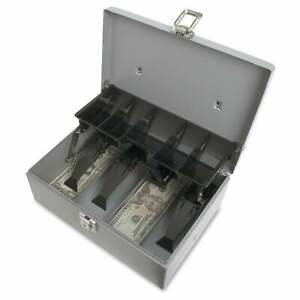 Sparco Grey Steel 5 compartment Tray Cash Box Grey