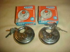 2x New abus 24 70 Stainless Steel 2 3 4 70mm Discus Padlock Germany