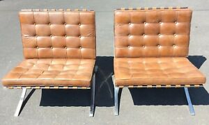 Pair Of 1951 1961 Knoll Associates Barcelona Chairs By Ludwig Mies Van Der Rohe