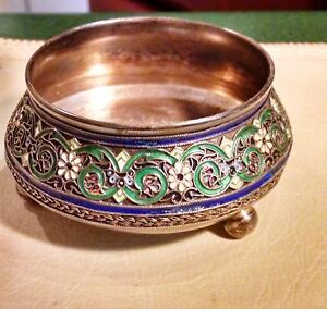 Imperial Russian Silver Cloisonne Salt By Pavel Ovchinnikov 1883 86 Beautiful