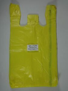 500 Qty Yellow Plastic T shirt Retail Shopping Bags W Handles 11 5 X 6 X 21