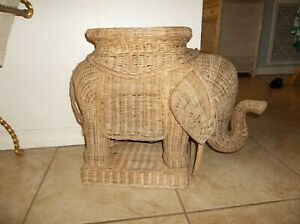 Vintage Mid Century Wicker Rattan Elephant Side End Table Stool Plant Stand