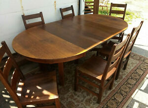 Mission Arts Crafts Oak Dining Table 6 Chairs Leaves Stickley Quaint Plus More