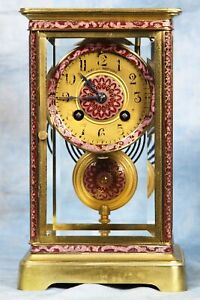 Antique French Cloisonne Crystal Regulator Clock 19th Century Japy Freres