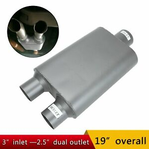 3 Inlet 2 5 Dual Outlet Chambered Race Performance Muffler 19 Inch Overall