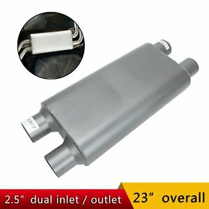 1 Pc 2 5 Inlet outlet Dual 2 Chamber Race Exhaust Muffler 17 Oval Body Length