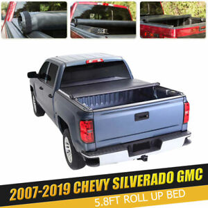 For Chevy Silverado 1500 2500 3500 Gmc 5 8ft Roll Up Lock Tonneau Bed Cover