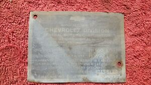1942 Chevy 1 1 2 Ton Pickup Truck Cowl Body Tag 9ms39 20592 Data Plate W Screws