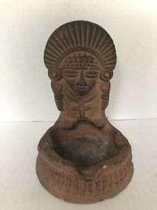 Pre Columbian Clay Pottery Figure Native Rustic Mayan Ashtray Vintage 6 Long