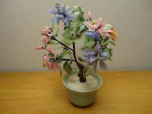Chinese Vintage Glass Jade Bonsai Tree