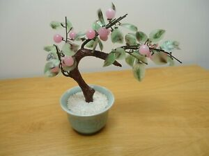 Chinese Vintage Jade Glass Bonsai Tree