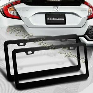 2 X Black Aluminum Alloy Car License Plate Frame Cover Front Rear Us Size