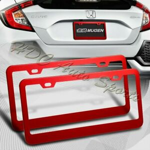 2 X Red Aluminum Alloy Car License Plate Frame Cover Front Rear Us Size