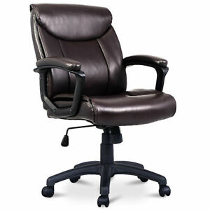 Ergonomic Pu Leather Mid back Executive Computer Desk Task Office Chair Brown