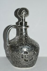 Fancy Antique Sterling Silver Overlay Large Glass Jug Decanter