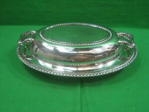 Vintage Covered Oval Serving Dish Silver Plated Ornate Handles