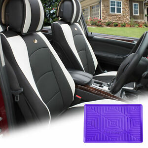 Leatherette Seat Cushion Covers Front Bucket White W Purple Dash Mat For Auto