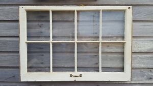 Architectural Salvage 8 Pane 36x28 Antique Wood Window Sash With Hardware