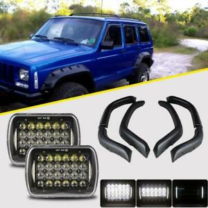 For 84 2001 Jeep Cherokee Xj Fender Flares With 7x6 Led Headlights Halo Offroad
