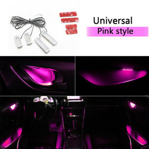 4x Pink Car Door Bowl Handle Led Ambient Atmosphere Light Interior Accessories