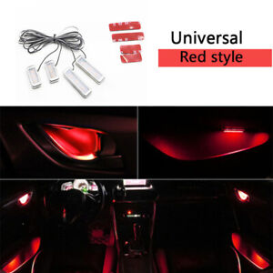 4x Red Car Door Bowl Handle Led Ambient Atmosphere Light Interior Accessories