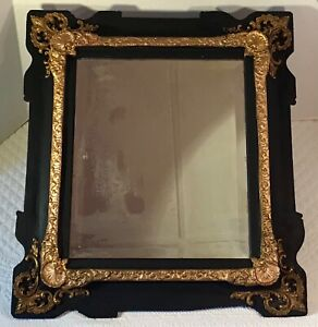 Antique Victorian Painted Wood And Gilt Gesso Beveled Glass Mirror 20 75 X 18 5