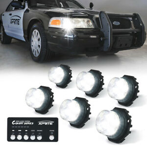 6x White Led Strobe Lights Hide A Way Emergency Hazard Headlight Internal Mount