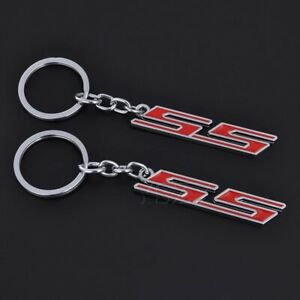 Red 3d Ss Logo Car Key Ring Key Chain Keychain For Chevy Chevrolet Camaro Ss Z28