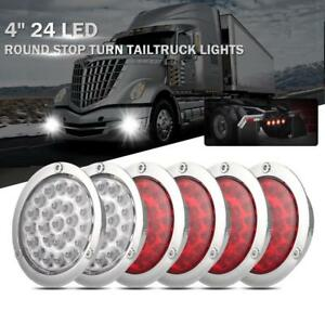 6x 4 Round 24led Tail Light Reverse Backup Lamp White Red For Kenworth Truck