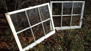 Architectural Salvage Unique Antique Window Sash Frame 34x28 Set Of 2