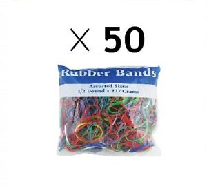 Assorted Color Rubber Bands Asssorted Sizes Half Pound 50 Pack