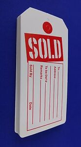 Sold Tags With Slit Merchandise Price Tags Red White New