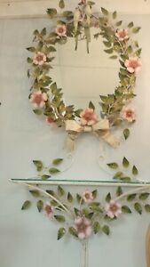 Vintage Italian Toleware Pink Wild Rose Pattern Mirror And Shelf With Birds