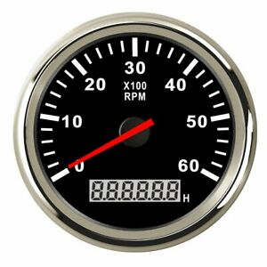 Marine Rpm 85mm Tachometer Gauge Lcd Tacho Hour Meter For Boat 12 24v 0 6000rpm