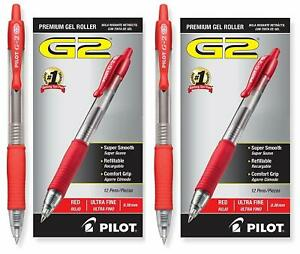 Retractable Comfort Grip Gel Ink Roller Ball Pens Ultra Fine 38 24 Pack Red