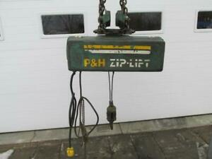 P h Harnischfeger 8a23 51 Zip Lift 1 2 Ton Electric Cable Chain Hoist 25 Lift