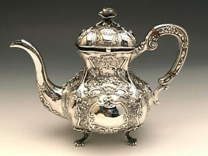 Beautiful Antique Sterling Silver Teapot Ornate Pattern 7 5 Tall