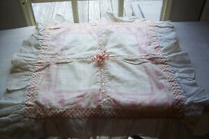 Vtg Antique Pillow Cover With Silk Ribbon Insertion Lace Cut Work Cotton Fabric