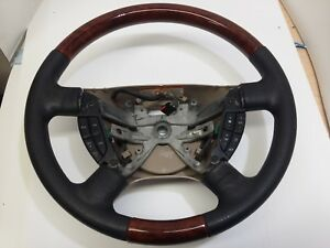 Ford Steering Wheel 2003 2006 Expedition Oem Black Leather Wood Grain Buttons