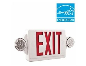 Lithonia Lighting 2 Light Led Exit Sign emergency Combo With Heads