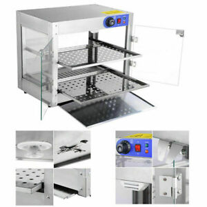 2 Tier Food Warmer Commercial Pizza Pie Cabinet Display Showcase 61x49x38cm Uk