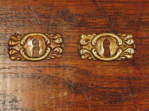 2 Vintage Brass Key Hole Covers