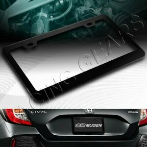 1pc Black Aluminum Alloy Metal License Plate Frame Holder Cover Front Or Rear