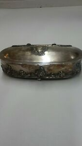 Antique Floral Silverplate Barbour S P Cigarette Jewelry Trinket Box