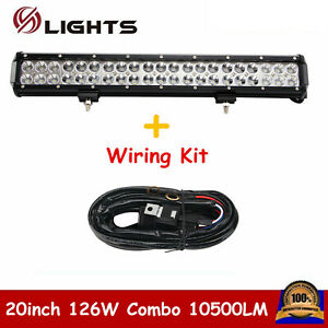 126w 20inch Flood Spot Combo Beam Led Work Light Bar Offroad Atv With Wiring Kit