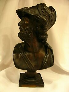 Ajax Antique 1883 Ansonia 1014 Bronze Spelter Clock Topper Bust Sculpture Statue