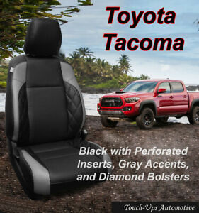 Black Leather Seat Covers Kit For 2016 2020 Toyota Tacoma Double Cab Diamond