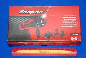 New Snap On 14 4v 1 4 Hex Microlithium Cordless Screwdriver Kit Cts761aok2